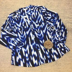 Calvin Klein blue white print blouse